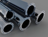 set of metallic pipes