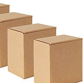 Cardboard boxes are the same located in a row diagonally. Isolated on a white background.