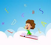 Cartoon boy flying over the sky through the alphabet