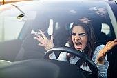 Road rage traffic jam concept