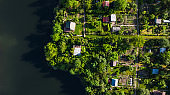 Tiny Ecological Friendly City Plot Gardens on Lake Edge, Aerial Top Down View