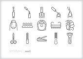 Nail salon line icon set