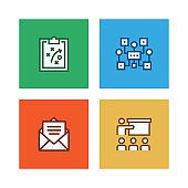 WORKFLOW AND BUSINESS LINE ICON SET