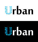 Urban label, title caption on white and black color isolated