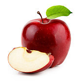 Red apple with slice and leaf isolated on white background