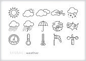 Weather icons for every season showing precipitation, wind, rain, snow, lightning and ways to measure and track weather