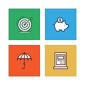 Line icon set - business