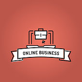 ONLINE BUSINESS LINE ICON SET