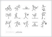 Minimal athlete line icons of stick figures playing various sports