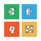 BUSINESS MARKETING LINE ICON SET