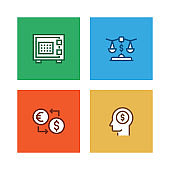 BANKING AND FINANCE LINE ICON SET