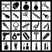 Illustration set of simple icons for barber or beauty salon combs, scissors, hairdryer, razors, cosmetics