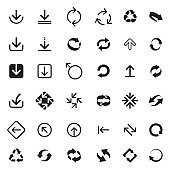 Set of vector arrows for web. Outline Refresh and Reload arrows. COLLECTION OF ICONS.