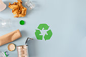 Environmental conservation concept - rubbish prepared for recycling, cardboard, plastic, metal, glass