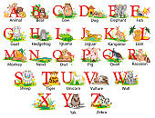 Illustration of a childrens cartoon english alphabet with animals on each letter