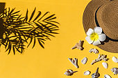Straw hat, sea shells on bright yellow background, copy space