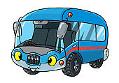 Funny bus or van with eyes. Coloring book