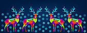 Bright colorful Christmas and New Year decoration on blue background.