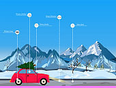 Winter driving tips concept. Vector of red retro car driving in snowy mountains on Christmas season