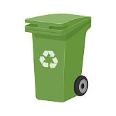 Green recycle waste bin flat vector illustration