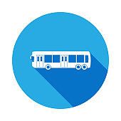 city bus icon with long shadow. Premium quality graphic design icon with long shadow. Signs and symbols can be used for web, logo, mobile app, UI, UX