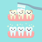 Tooth cleaning and brushing stomatology concept, cute colorful teeth vector illustration