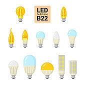 LED light B22 bulbs vector colorful icon set
