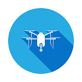 quadcopter drone with camera icon with long shadow. Elements of a controlled aircraft icon. Signs, outline symbols collection icon for websites, web design, mobile app