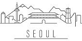 Seoul city outline icon. Elements of cities and countries illustration icon. Signs and symbols can be used for web, logo, mobile app, UI, UX