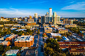 Austin Texas view down 5th street aerial drone landscape skyline cityscape at golden hour sunset