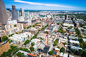 Aerial drone view of Construction cranes in Denver Downtown