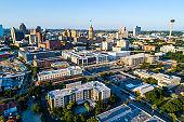 San Antonio Texas Evening Sunshine on the Downtown Cityscape Skyline