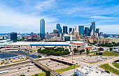 Afternoon Sunny day in Dallas Texas overlooking Skyline Cityscape Downtown towers urban concrete