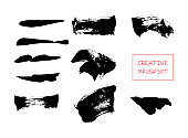 Set of black paint, ink brush strokes, brushes, lines. Artistic design elements eps10