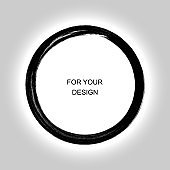 Enso calligraphy element japanese or chinese style Zen Circle Brush. Round frame. Vector Illustration