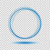 Abstract dynamic vortex circle of blue lines on a transparent background.