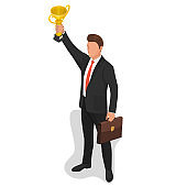 The businessman lifts a champion cup of the winner