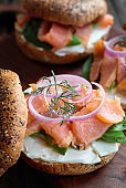 Lox - Everything bagel with smoked salmon, spinach, red onions, avocado and cream cheese