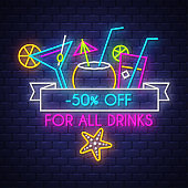 Summer sale banner for drinks. Neon sign lettering