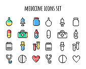 Medicine icon set. Outline and color