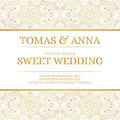 Traditional wedding invite card template vector. Vintage floral pattern with golden luxury background. Classic save the date design or bridal shower party invitation.