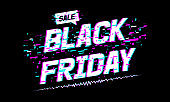 Background Black Friday sale. Black friday text with glitch effect.