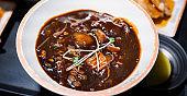 Jajangmyeon, jjajangmyeon, fried sauce noodle, delicious korean traditional noodles cuisine with korea black bean paste sauce, close up, copy space