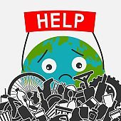 Save the planet concept. Littering planet with human waste. Planet earth asks for help to clear it of garbage