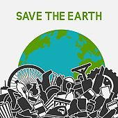 Save the planet concept. Littering planet with human waste. Planet earth in garbage dump
