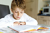 Little blonde school kid boy reading a book at home