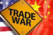 TRADE WAR / Warning sign concept with USA and China flag (Click for more)