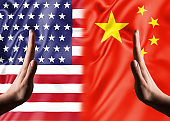 HAND STOP SIGNS with USA and Chinese flags / War concept (Click for more)