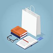 Isomertic Book Store Illustration
