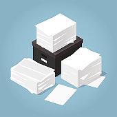 Isometric Office Paper Illustration